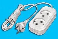 Электрический удлинитель V.I.-TOK У2-0-3 3м, 2 розетки, 250V, 6A,  99% медь, без заземления, белый.