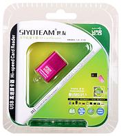 CardReader Siyoteam SY-T18,USB2.0, MicroSD, 480Mbps, основные цвета черный, розовый, золотистый, фото 1