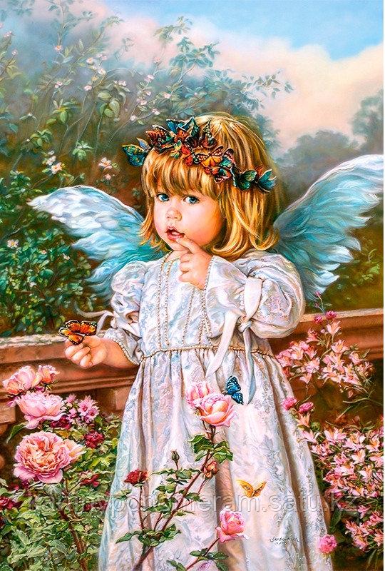 """Картина по номерам """"Ангелочек с бабочками"""""""