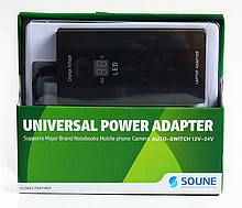 Универсальное зарядное устройство для ноутбуков LCD SOUNE 505L 100W (ручная),10 переходников, для 220B, ручная