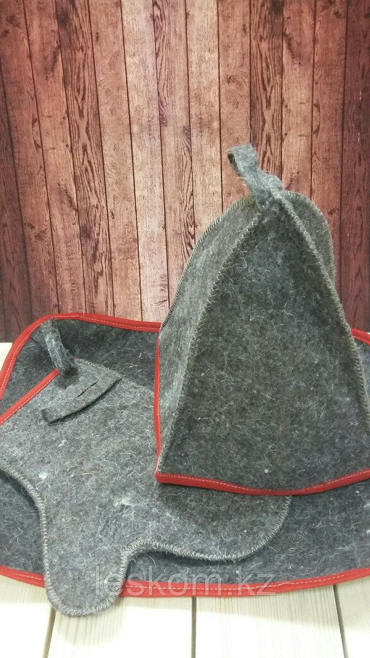 Набор с цветным кантом (колпак, коврик, руковица)