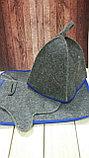 Набор с цветным кантом (колпак, коврик, руковица), фото 2