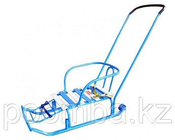 Санки детские Тимка 5 Комфорт с колесом, цвет: голубой