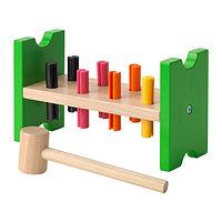 Игра блок с колышками и молотком МУЛА разноцветный ИКЕА, IKEA