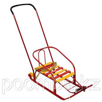 Санки детские Тимка 5 Комфорт с колесом, цвет: красный