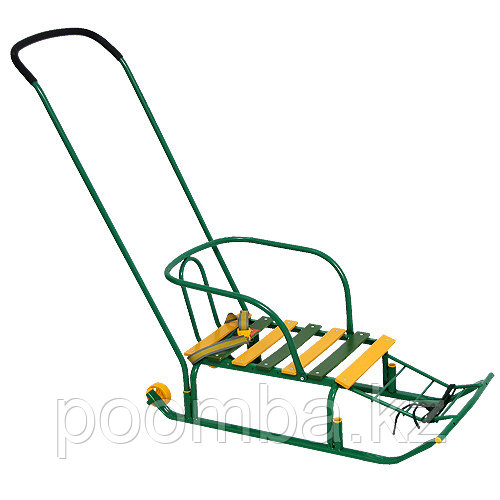 Санки детские Тимка 5 Комфорт с колесом, цвет: зеленый