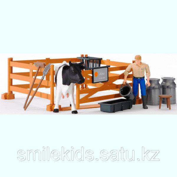 Набор фермера с загоном, коровой и рабочим с аксессуарами