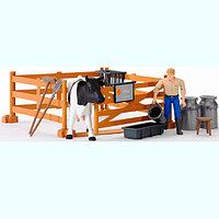Набор фермера с загоном, коровой и рабочим с аксессуарами, фото 1