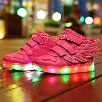 LED Кроссовки детские со светящейся подошвой высокие, розовые крылья