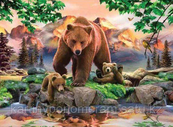 """Картина по номерам """"Медведица с медвежатами 2"""""""