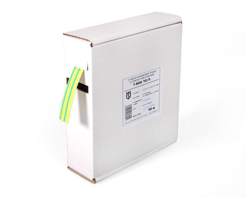 Термоусадочные желто-зеленые трубки в компактной упаковке Т-BOX-16/8 (ж/з) ™КВТ