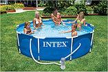Каркасный сборный бассейн Intex Metal Frame Pool. 305 х 76 см. с фильтром, фото 2