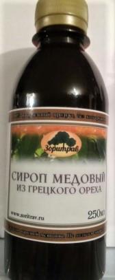 Сироп медовый, грецкий орех, 250мл