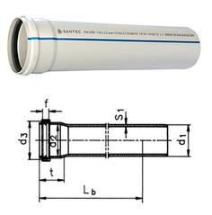 Труба (канализационная) ПВХ SANTEC 75/500 (2.2)
