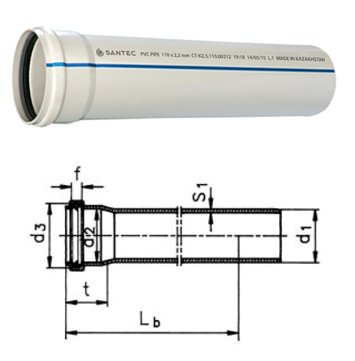 Труба (канализационная) ПВХ SANTEC 75/1000 (2.2)