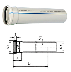 Труба канализационная ПВХ SANTEC 75/3000 (2.2)