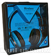 Беспроводные Стерео Bluetooth наушники с подсветкой LED TM -021 (синие)