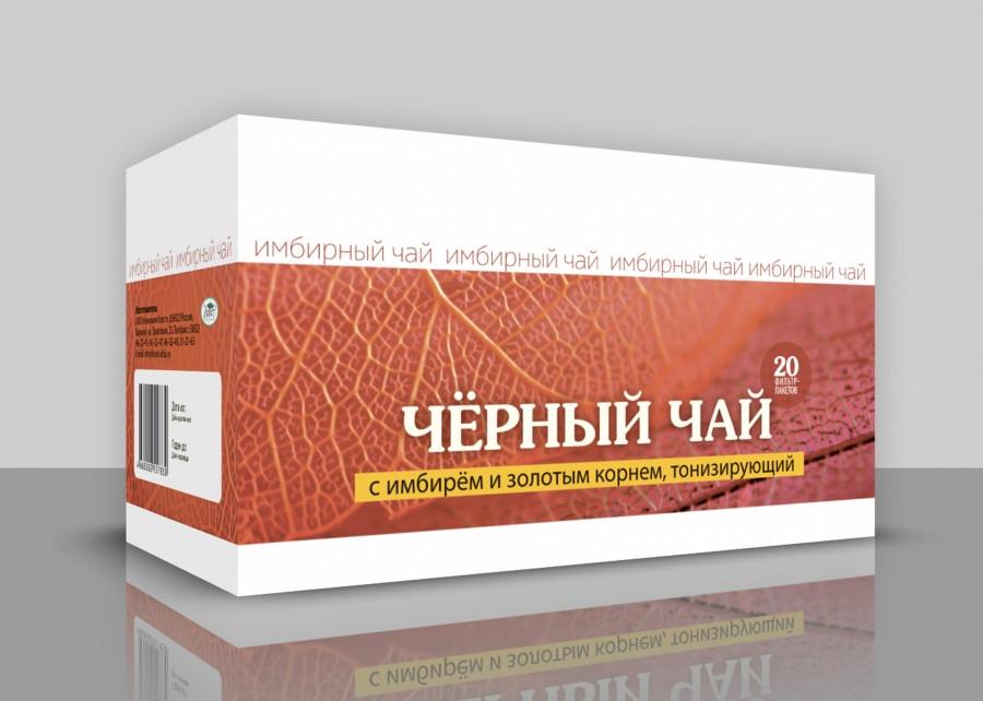 Черный чай с имбирем и золотым корнем, Тонизирующий , 20ф/пак*1,5гр