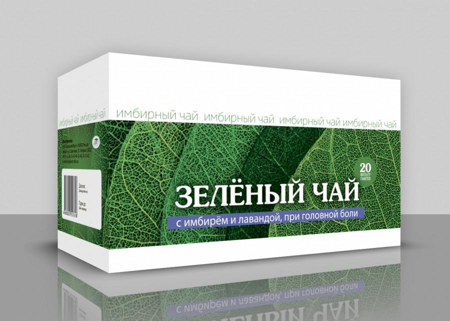 Зеленый чай с имбирем и лавандой. При головной боли, 20ф/пак*1,5гр