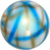 Мяч Pastorelli,18 см, вес 400 гр. белый-золотой-синий.
