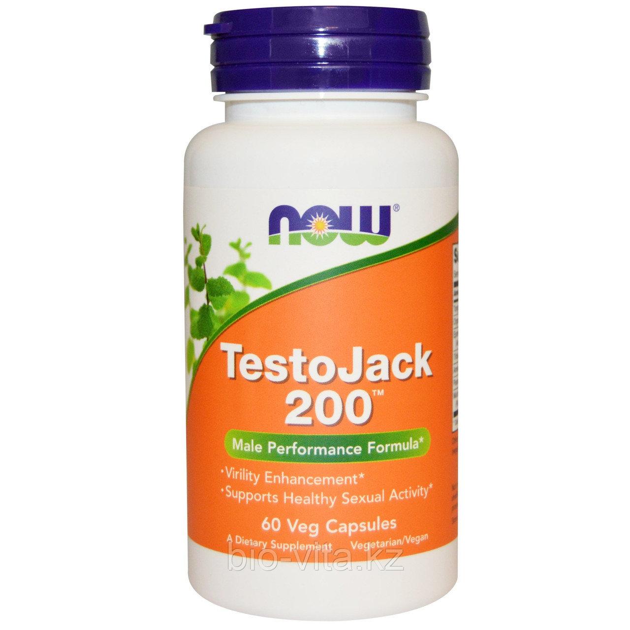Now Foods, TestoJack 200 ТестоДжек 200, (для улучшения потенции) 60 вегетарианских капсул.