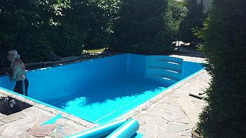 Наши работы по облицовке  бетонных и металлических чаш бассейнов ПВХ лайнером 1