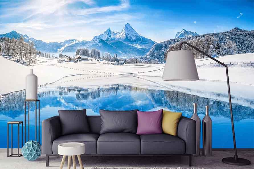Фотообои Озеро на фоне Альпийских гор