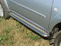 Пороги стальные с площадкой на Mitsubishi Pajero Sport 2008-2013 труба D76.1
