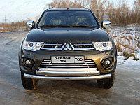 Защита переднего бампера Mitsubishi Pajero Sport 2014- двойная (Круг+Овал) D 76,1/75х42, фото 1