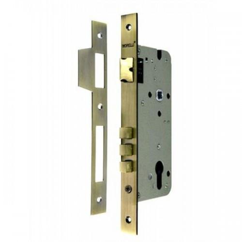 Дверной замок с 3 ригелями без цилиндра Morelli L03 AB. Предназначен для открывания и закрывания входных и межкомнатных дверей различного типа.