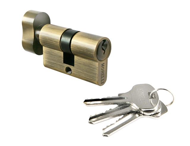 Ключевой цилиндр длиной 50 мм Morelli 50CK AB. Предназначен для открывания и закрывания входных и межкомнатных дверей различного типа.
