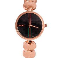 Часы наручные женские реплика GUCCI No.5412 (Розовое золото, чёрный циферблат)