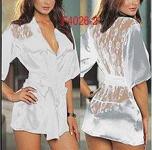 Белый халат с кружевным вырезом ниже попы-Сексуальный халат