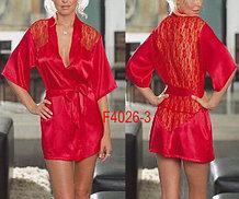 Красный халат с кружевным вырезом ниже попы-Сексуальный халат