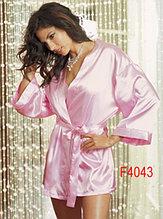 Розовый атласный сексуальный халатик