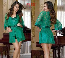 СЕКСУАЛЬНЫЙ Зеленый  кружевной халат с пеньюаром в алматы