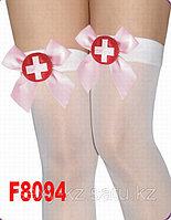Белые чулки медсистрички с розовым медецинским бантом