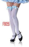 Белые чулки с голубым бантом