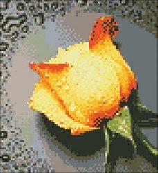 """Картина стразами - """"Желтая роза-2"""" 22х24 см"""