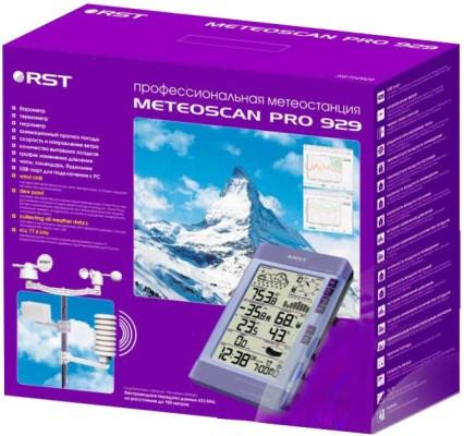"""Цифровая профессиональная метеостанция """"Meteoscan Pro 929"""" RST 02929 в компактной яркой коробке"""