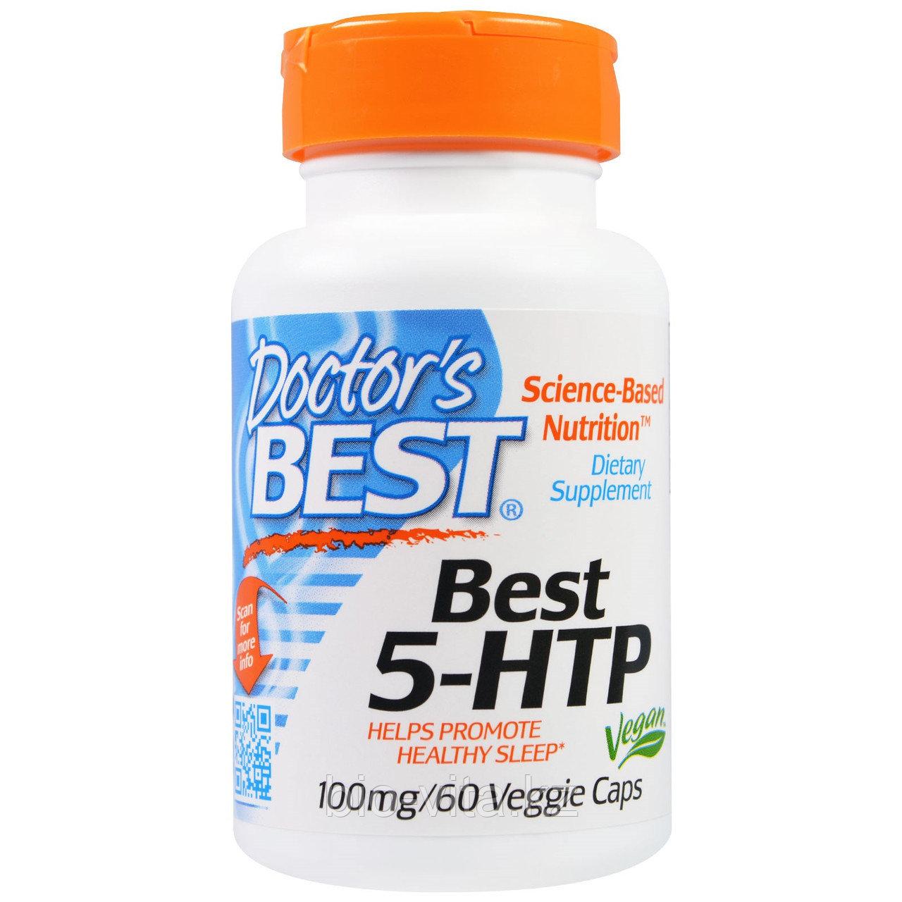 Doctor's Best, Триптофан (усиленный)5-HTP, 100 мг, 60  капсул. Натуральный.