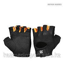 Better bodies Womens train gloves, Перчатки  черные с оранжевым