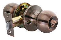 Дверная ручка-кноб с фиксатором Rucetti HK-01 WC AC (цвет: античная медь)