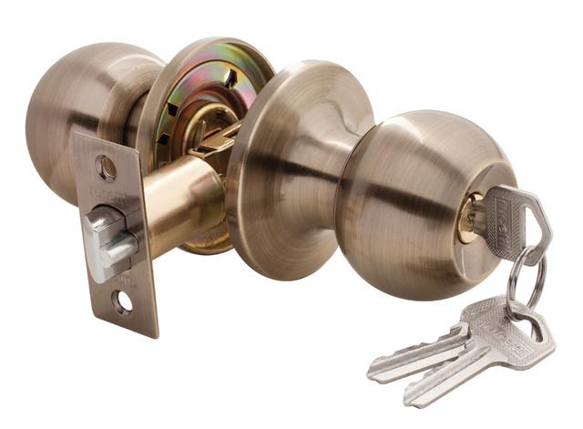 Дверная ручка-кноб с ключ-фиксатором Rucetti HK-01 L AB