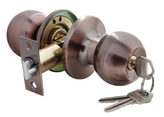 Дверная ручка-кноб с ключ-фиксатором Rucetti HK-01 L AC