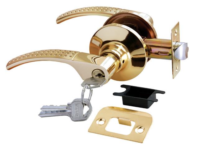 Дверная ручка-кноб с ключ-фиксатором Rucetti HK-04 L SG/GP