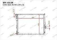 Радиатор основной Great BMW Series 3. E46 1998-2005 1.6i / 1.8i / 2.0i / 2.3i / 2.5i / 2.8i / 3.0i 17119071518