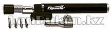 """Горелка газовая тип """"Карандаш"""" c пьезоподжигом + 4 насадки для пайки 200 мм SPARTA 914325 (002)"""