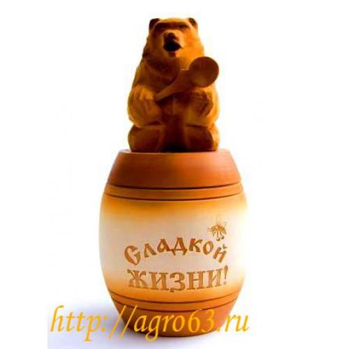 Бочонок под мед с мишкой на крышке, объем 1 кг