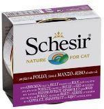 Schesir консервы для кошек ЦЫПЛЁНОК+ГОВЯДИНА+РИС 85 гр., фото 1